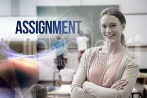 Assignment against pretty teacher smiling at camera at back of c