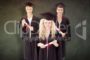 Composite image of group of adolescents celebrating after gradua