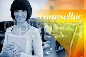 Counsellor against teacher with tablet pc