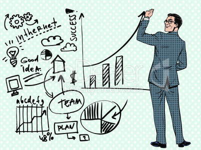 Businessman drawing business concept of success