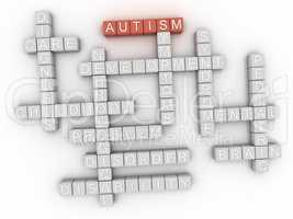 3d image Autism concept word cloud background