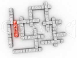 3d image Panic word cloud concept