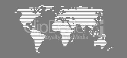 Weltkarte aus weißen Strichen
