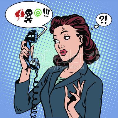 Dangerous talk phone communication viruses business woman abuse problems