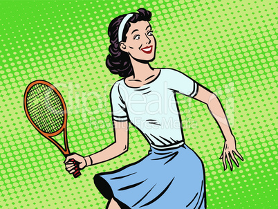 Young woman playing tennis retro style pop art