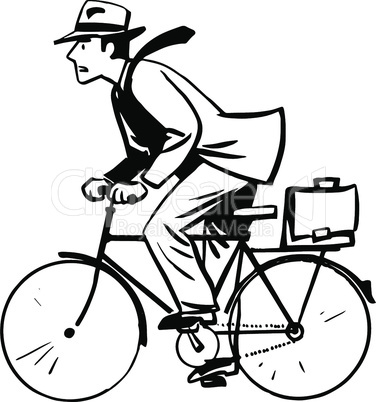 businessman quickly rides Bicycle line art retro sketch