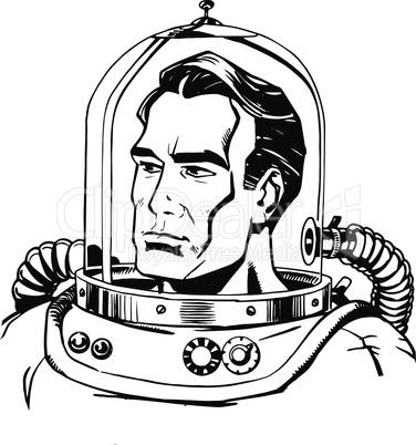 Retro astronaut line art