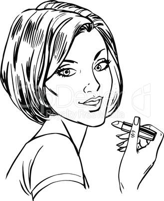 Makeup woman lipstick line art