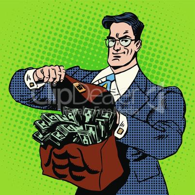 super businessman suitcase money