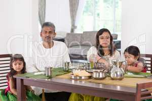 Indian family dining at home