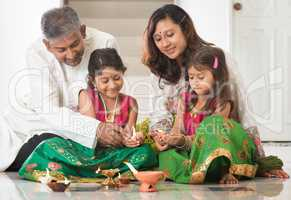 Indian family celebrating Diwali