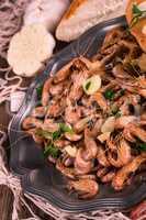 North Sea shrimps with garlic