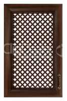 Wooden furniture door with a lattice, isolated on white backgrou