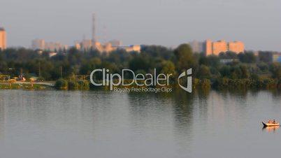 Boat traffic on Kharkiv river, Ukraine. Time-lapse.