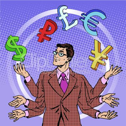businessman juggling money business concept