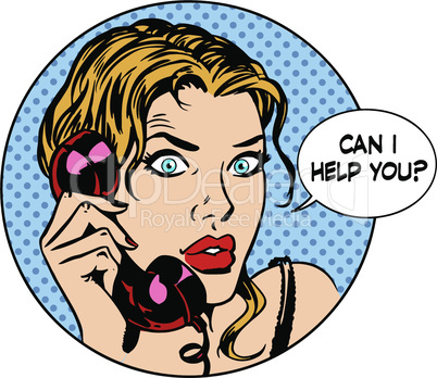 Communication phone woman said I can help you. Business work service