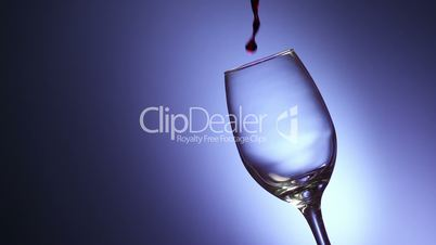 8 Glass Filled With Red Wine In Super Slowmotion