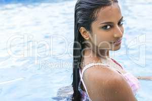 Sexy Indian Asian Woman Girl in Swimming Pool