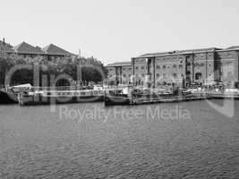 Black and white West India Quay in London