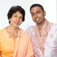Indian family mother and son