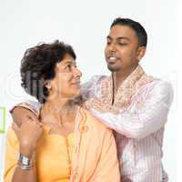Indian family senior mother and young adult son