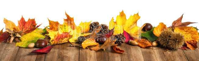 Herbstblätter auf Holz, extra breites Format