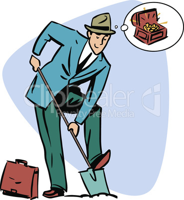 Businessman treasure hunter dreams money business people concept character