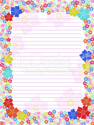 Notepad blank with floral multicolour frame