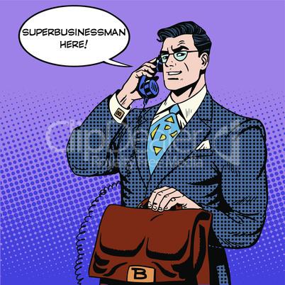 Super businessman hero talking phone success finance