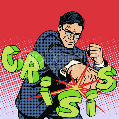 Super businessman hero against crisis business concept