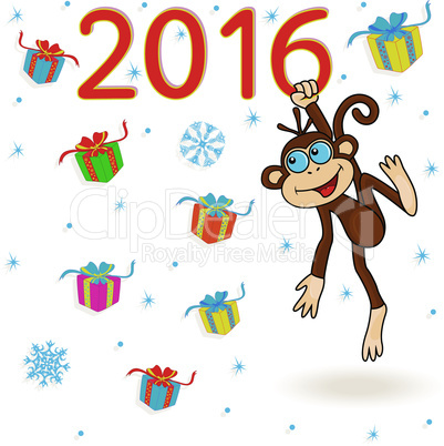 Monkey holds for the digit of 2016 inscription and hangs on it