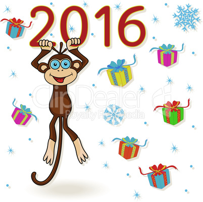 Monkey hangs on the digit of 2016 inscription