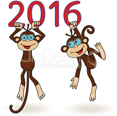 Two Monkeys hang on the digits of 2016 inscription