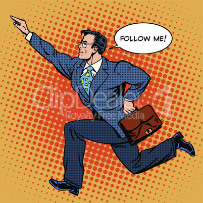 Super hero businessman runs forward screaming follow me