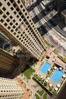 The view from skyscraper on swimming pools, Dubai, UAE