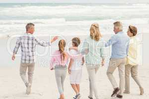 Multi generation family walking by the shore