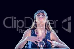 Fortune teller using crystal ball
