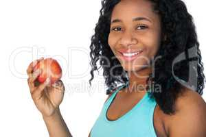 Model holding a red apple