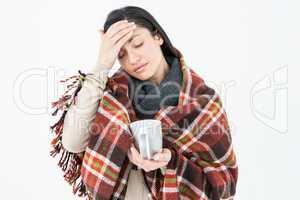 Sick woman having a migraine