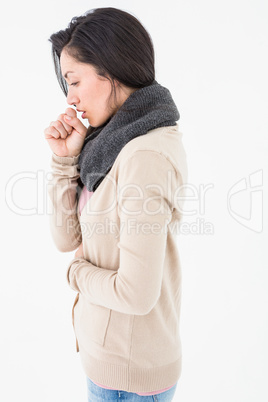 Sick brunette coughing