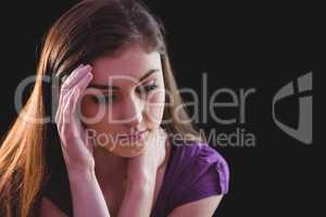 Unhappy woman thinking