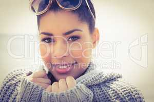 Attractive woman wearing a warm cardigan