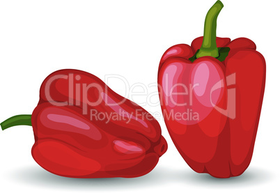 Set of Two Glossy Red Peppers