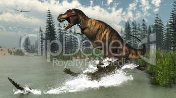 Tyrannosaurus rex dinosaur attacked by deinosuchus crocodile - 3D render