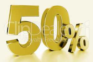 fifty, as a golden three-dimensional figure with percent sign