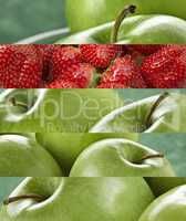 Composition of Vibrant colored green apple and strawberries