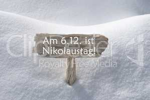 Sign With Snow Nikolaustag Means St Nicholas Day