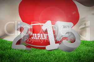 Composite image of japan rugby 2015 message