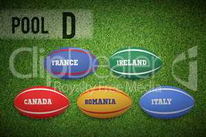 Composite image of rugby world cup pool d