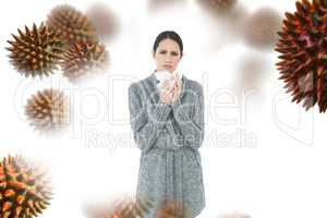 Composite image of portrait of a casual young woman suffering fr